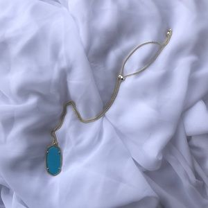 Kendra Scott Gold necklace with turquoise pendant